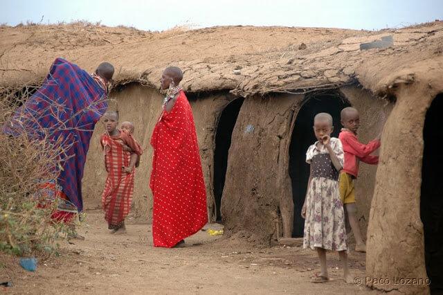 Asentamiento masai en Kenia
