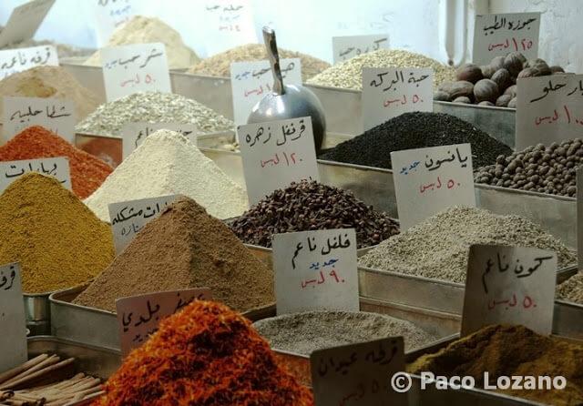 Especias en el zoco de Damasco