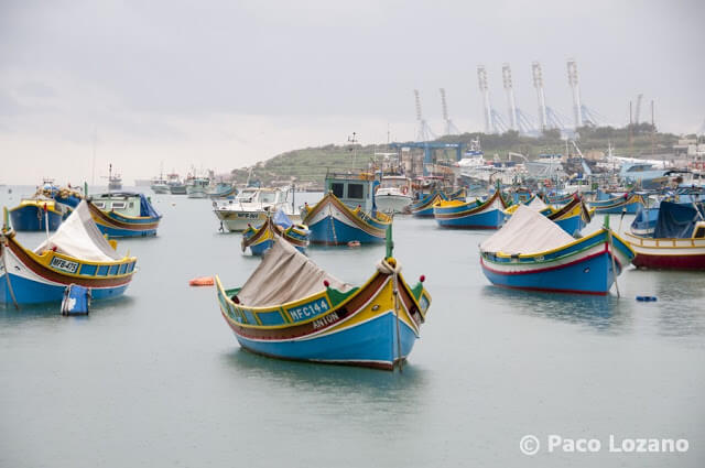 Barcos en Marsaxlokk (Malta)