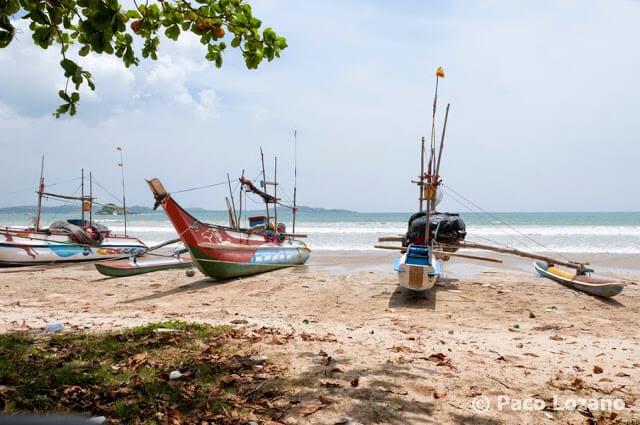 Barcos tradicionales de pesca en Sri Lanka